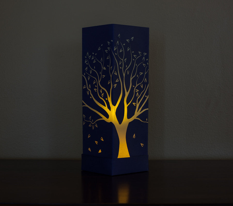 illuminated Tall Tree Paper Luminary blue with white boho decor