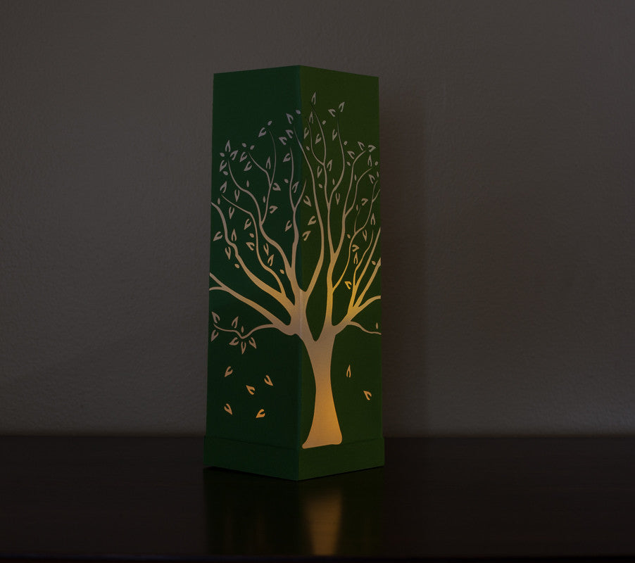 illuminated Tall Tree Paper Luminary green with white boho decor