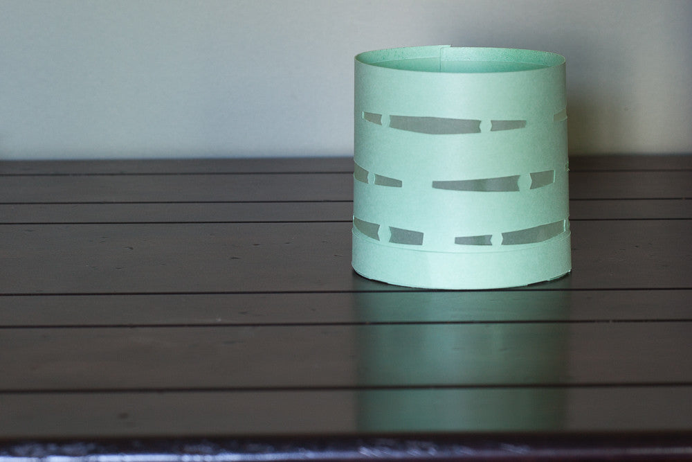 Paper Luminary votive holder mint green boho decor