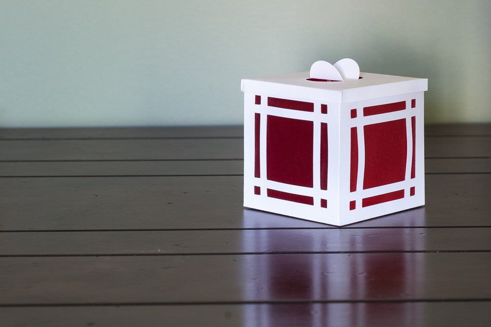 Paper Luminary white with red windows industrial decor