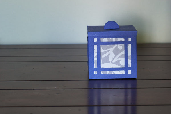 Luminary royal blue with white windows industrial home decor