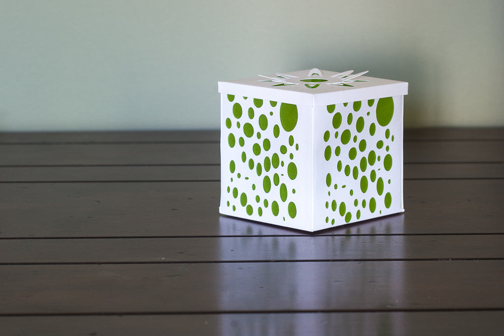 Luminary votive holder white green bubbles paper boho decor