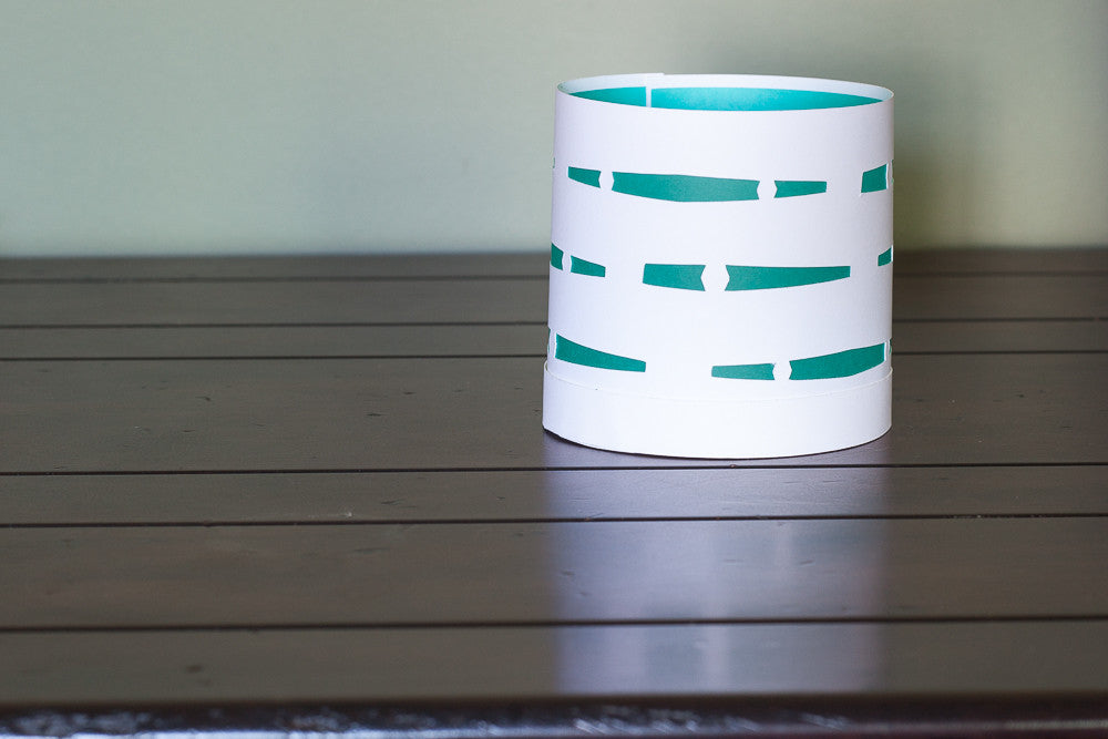 Circular Paper Luminary white with teal waves boho decor