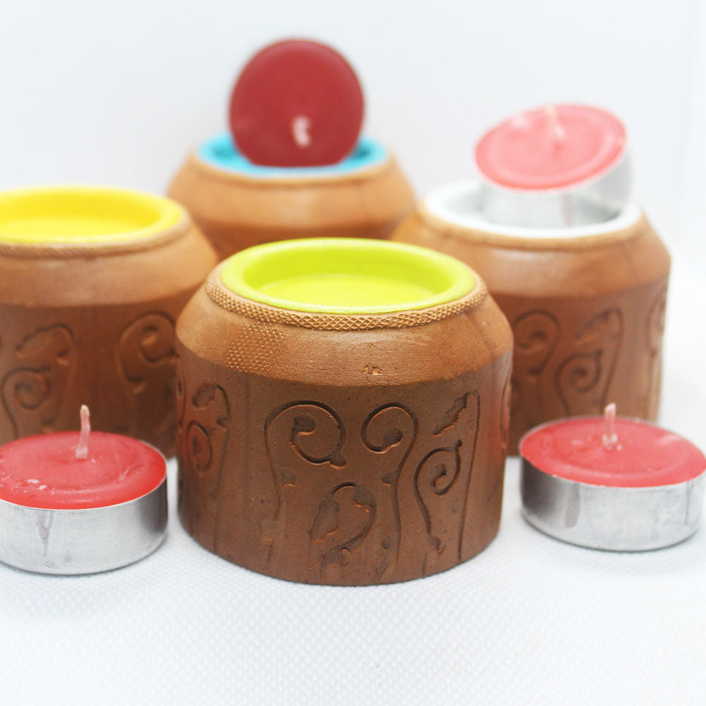 """BLISS"" series : Domatic Cylinder with Cavity : 4 Colored Candle / Tealight Holder : set of 4"