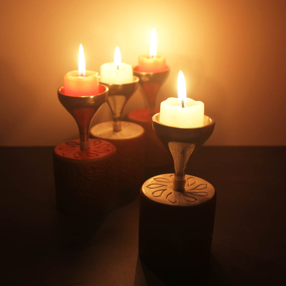 """BLISS"" series : Cylinder with Metal Funnel : Red & White Candle / Tealight Holder : set of 4"