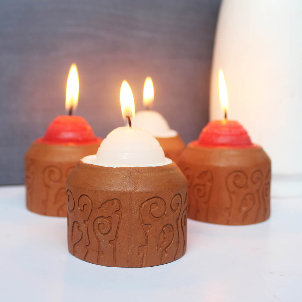 """BLISS"" series : Domatic Cylinder with Cavity : Red & White Candle / Tealight Holder : set of 4"