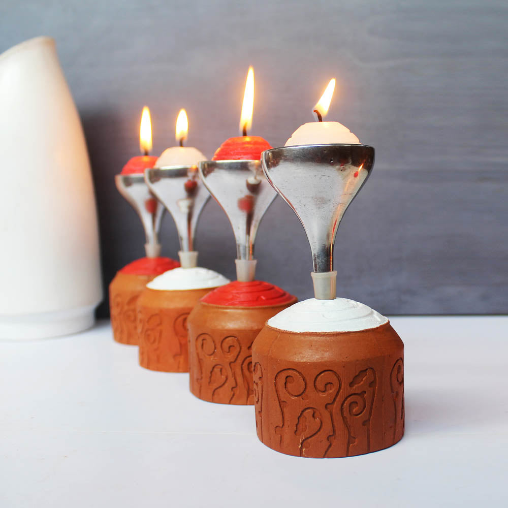 """BLISS"" series : Domatic Cylinder with Metal Funnel : Red & White Candle / Tealight Holder : set of 4"