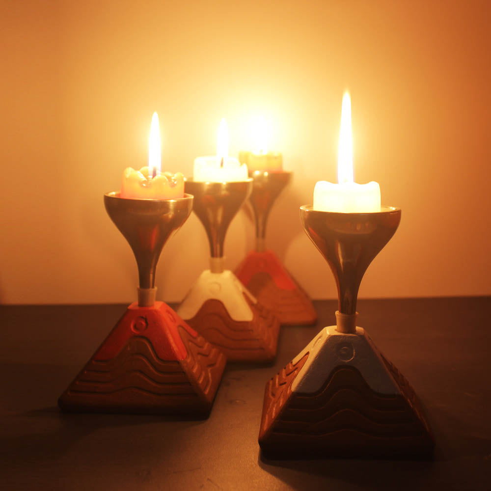 """BLISS"" series : Pyramid with Metal Funnel : Red & White Candle / Tealight Holder : set of 4"