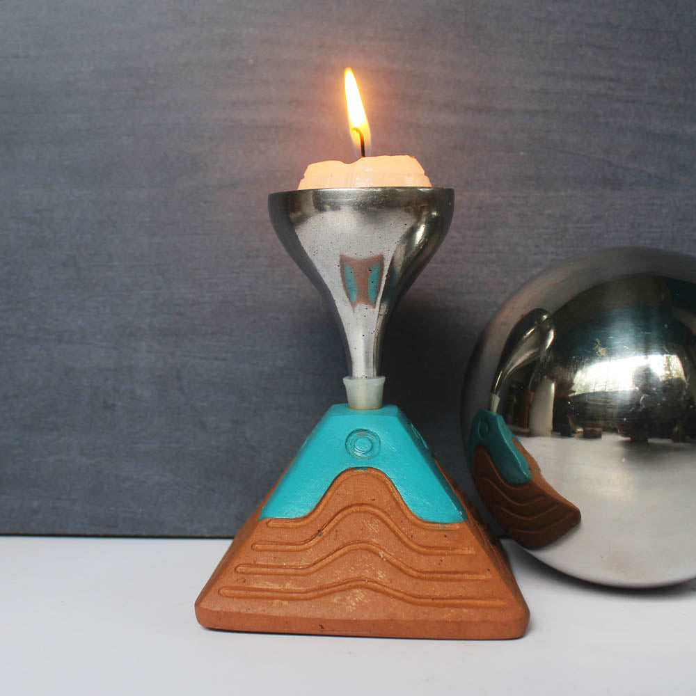 """BLISS"" series : Pyramid with Metal Funnel : 4 Colored Candle / Tealight Holder : set of 4"