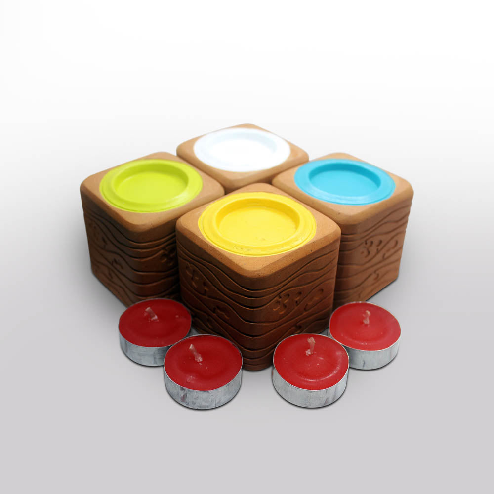"""BLISS"" series : Square with Cavity : 4 Colored Candle / Tealight Holder : set of 4"