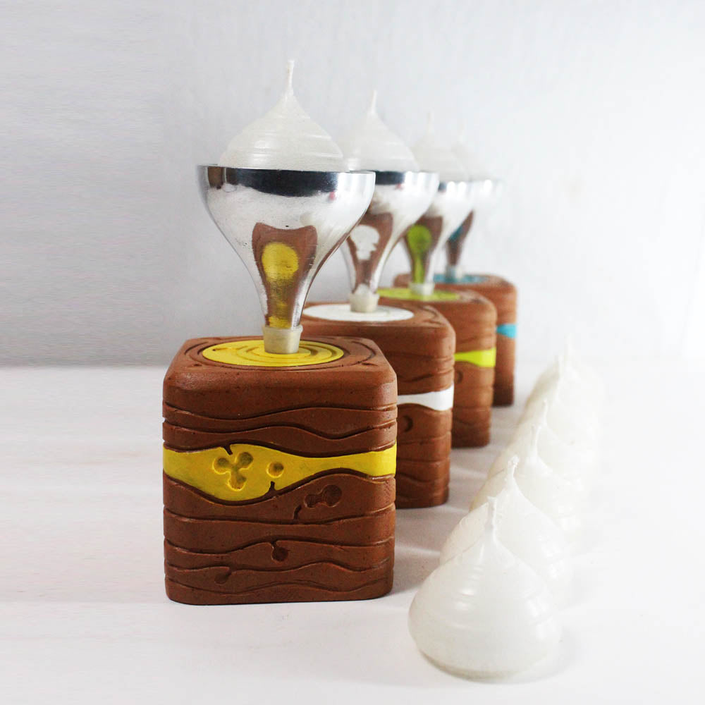 """BLISS"" series : Square with Metal Funnel : 4 Colored Candle / Tealight Holder : set of 4"