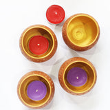 "Candle / Tea Light Pot ""DOME"" - Natural Terracotta Outer & Golden Inner Finish"