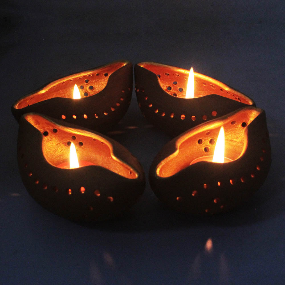 """CHIRAG 1"" Candle Holder : Set of 4"