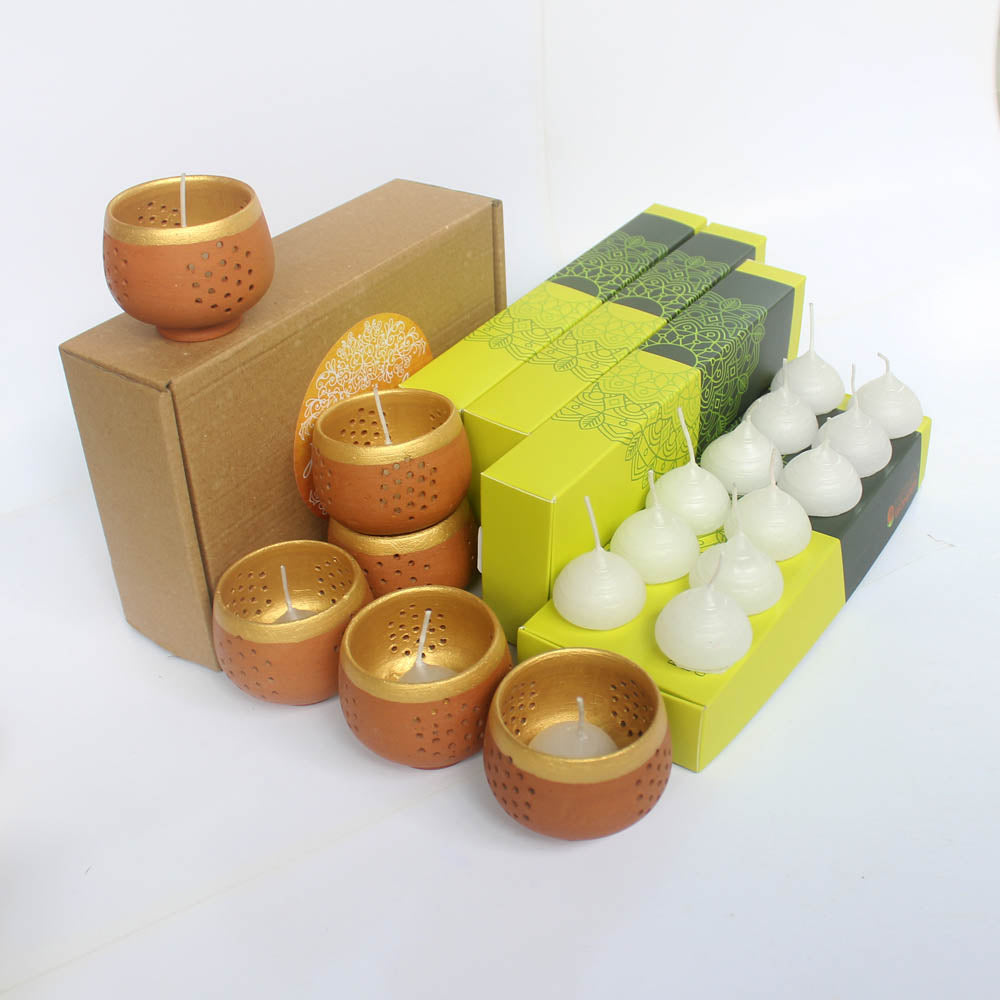 Large Combo Pack of 6 TUB Candle Holders + Pack of 48 HD Aromatic Candles