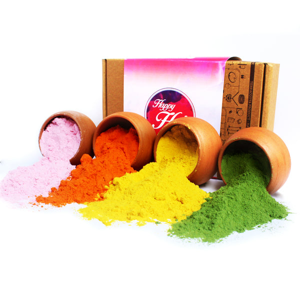 Gift Pack of NATURAL HOLI / RANGOLI Colours / Gulal Powder : 4 colours - 50 Grams each