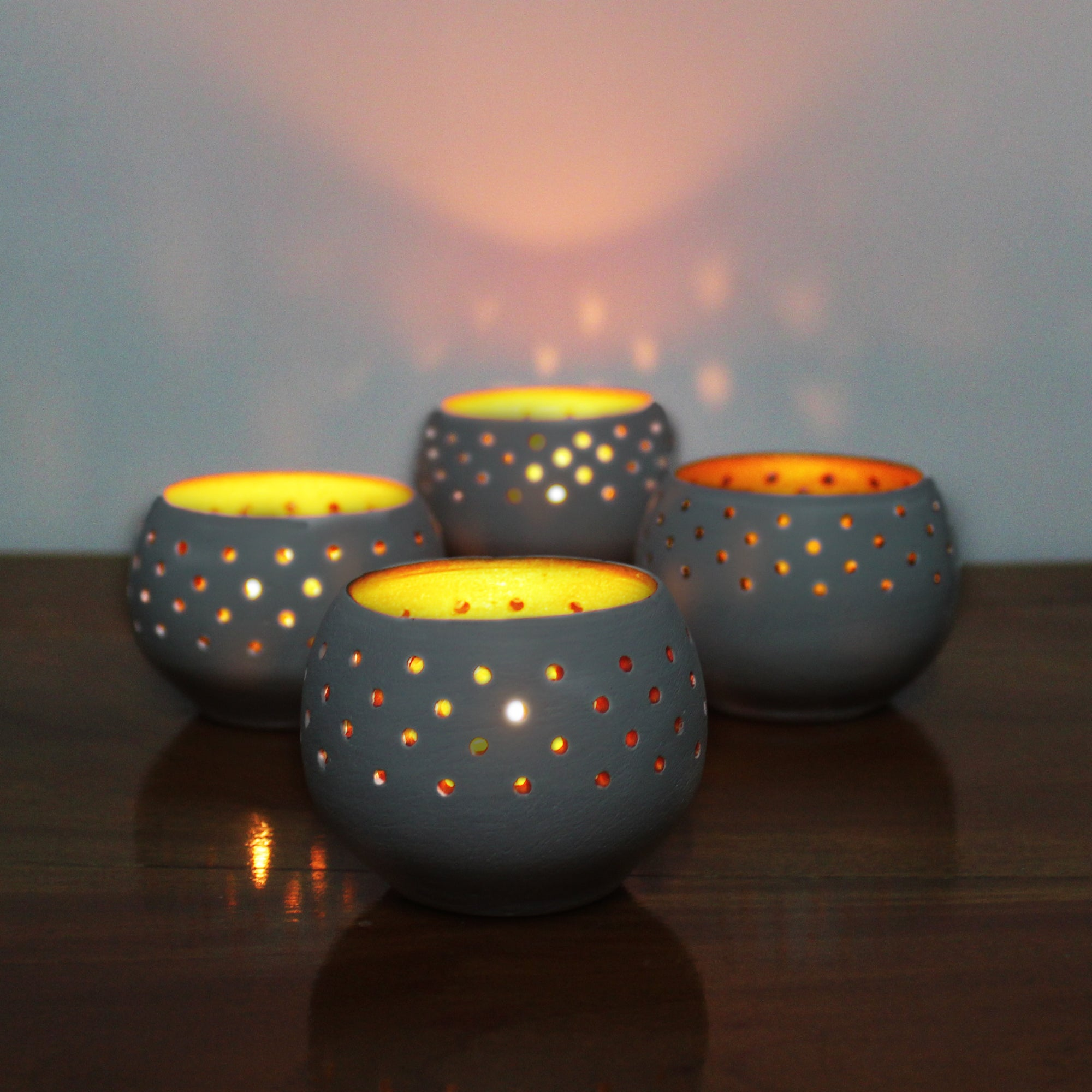 "Candle / Tea Light Pot ""DOME"" - COLORED Outer & Golden Inner Finish"