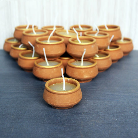 Terracotta  Aromatic HANDI Candle : Set of 50