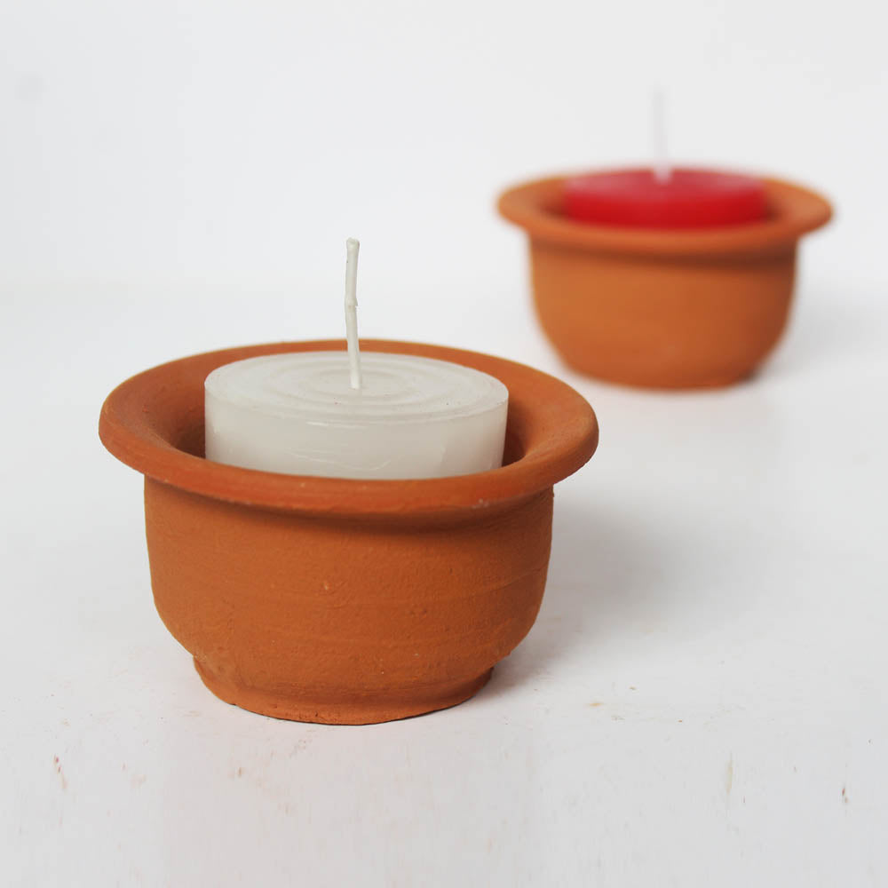 """HAT"" POT CANDLE HOLDER set of 6 with 12 Pillar Aromatic Candles"