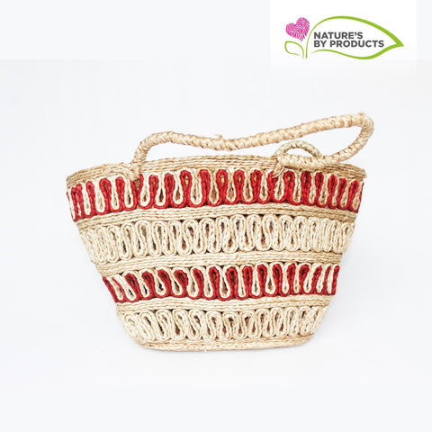 Jute Tote Bag (Red/Beige)