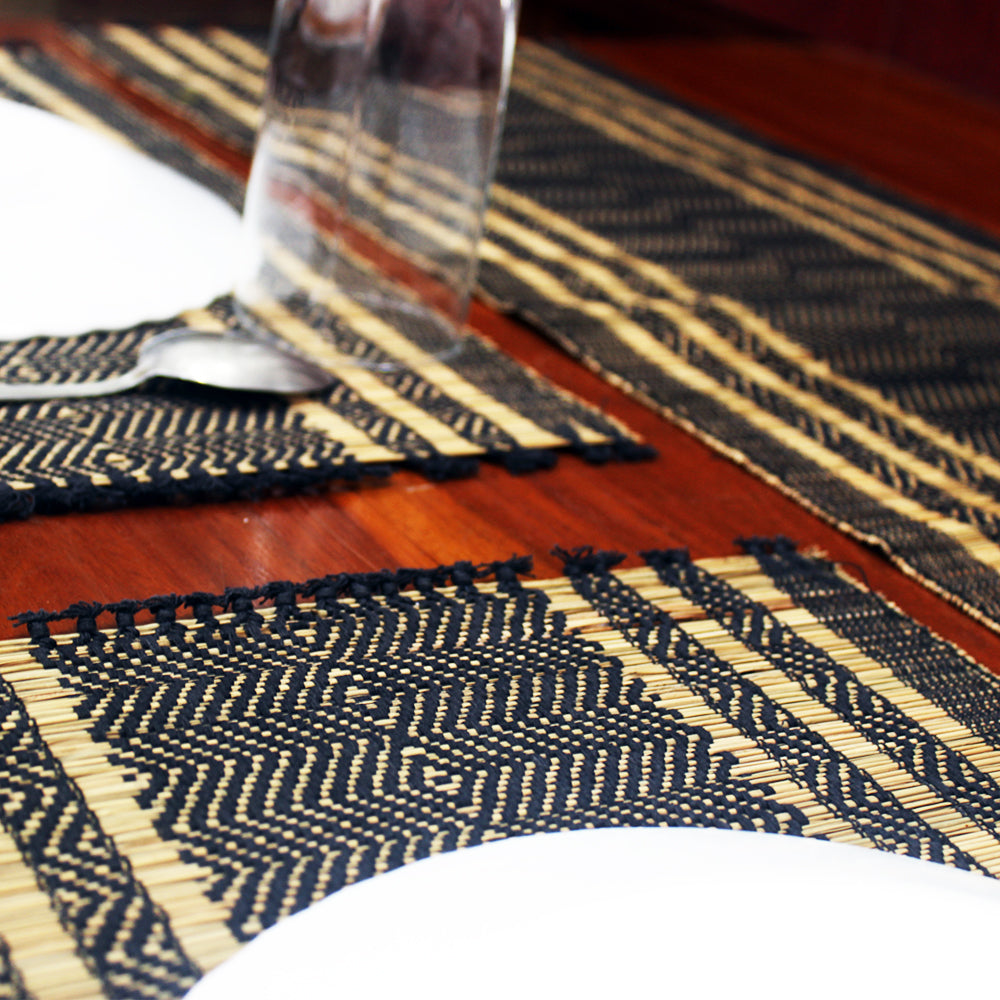 Table Mat with Runner (Madur) : Designed with Knotted Open Edge & Weaved with Black String