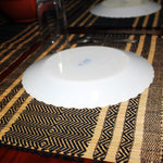 Table Mat with Runner (Madur) : Knotted Open Edge & Black String