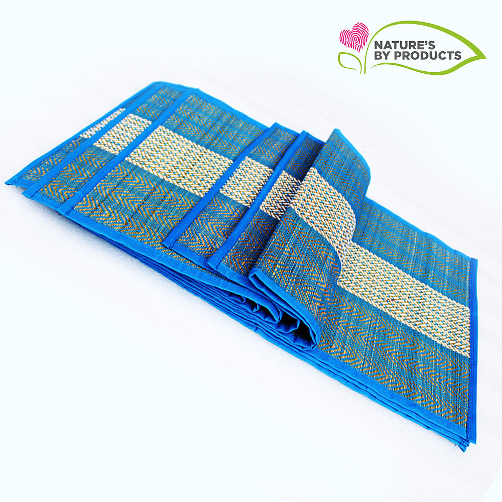 Table Mat with Runner (Madur) : Weaved with Blue String, Covered Edges with Blue Fabrics Stitched