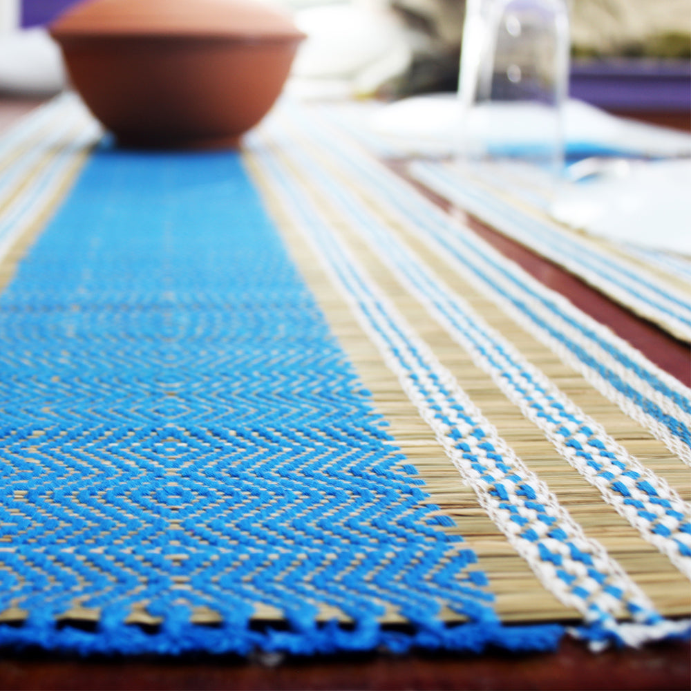 Table Mat with Runner (Madur) : Designed with Knotted Open Edge & Weaved with Blue String