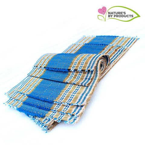 Table Mat with Runner (Madur) :  Knotted Open Edge & Blue String
