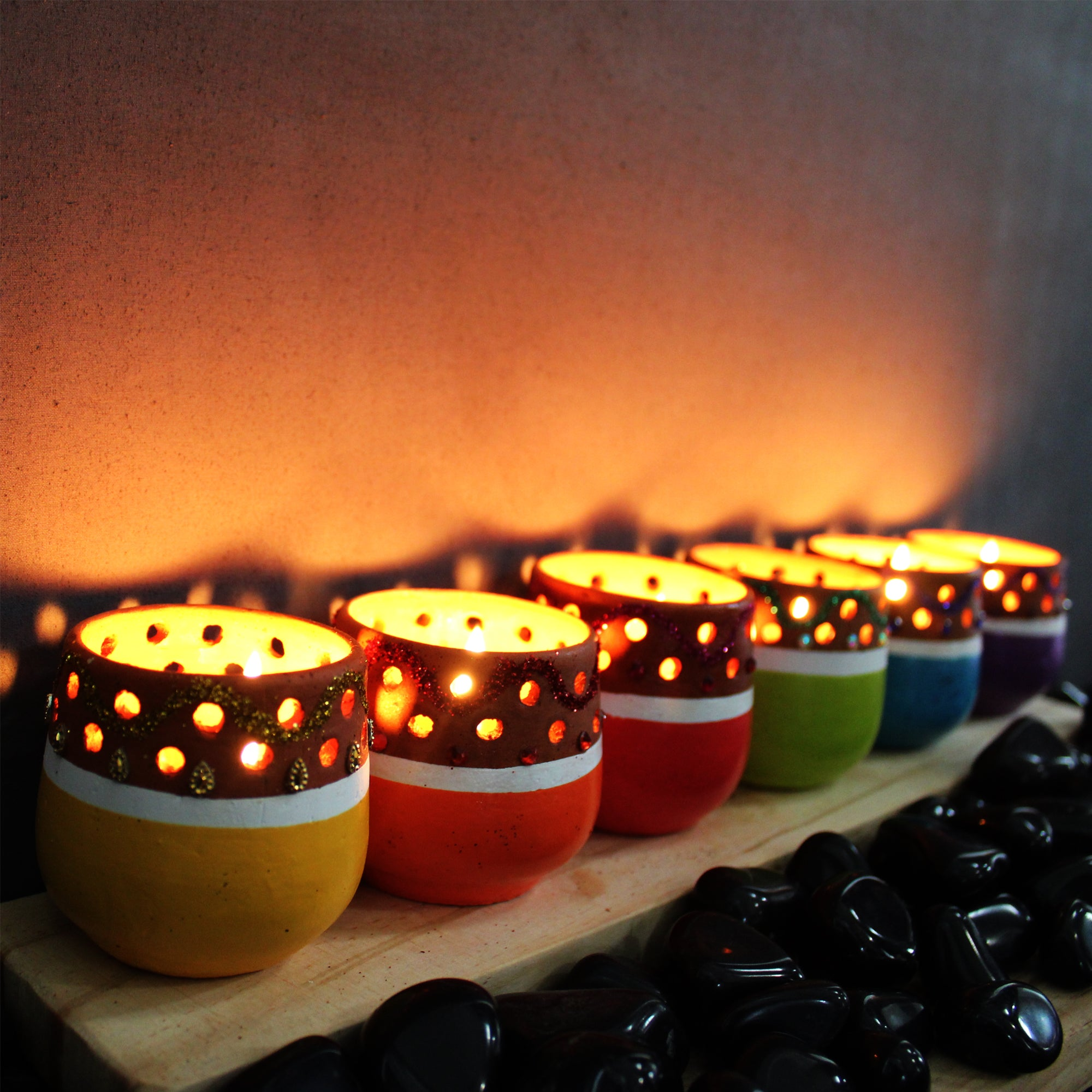 Candle Pod : GLITTERS - MiNi Colourful with Decoration (set of 6 candle pots in 6 colours)
