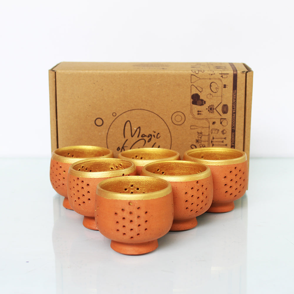 """TUB"" Candle / Tea Light Holder  - Terracotta finish Outer with Golden inner & border"