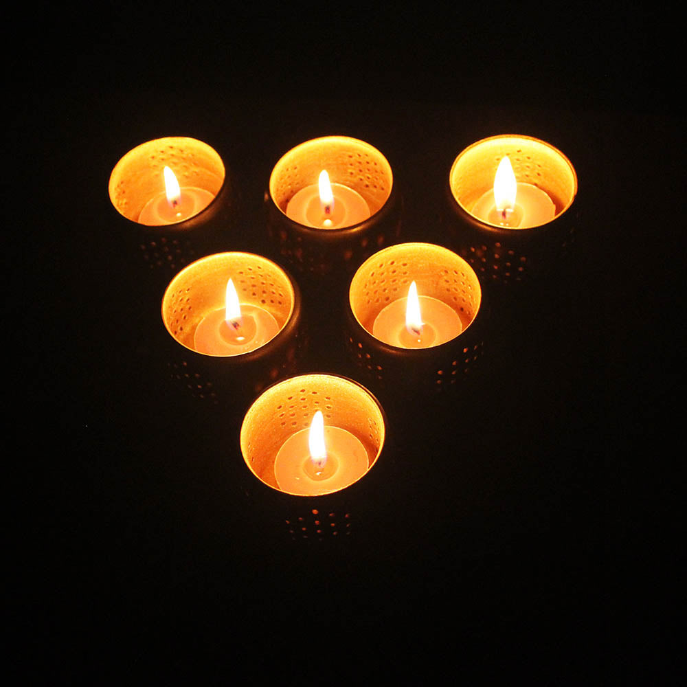 Small Combo Pack of 6 Tub Candle Holder + Pack of 12 HD Aromatic Candle
