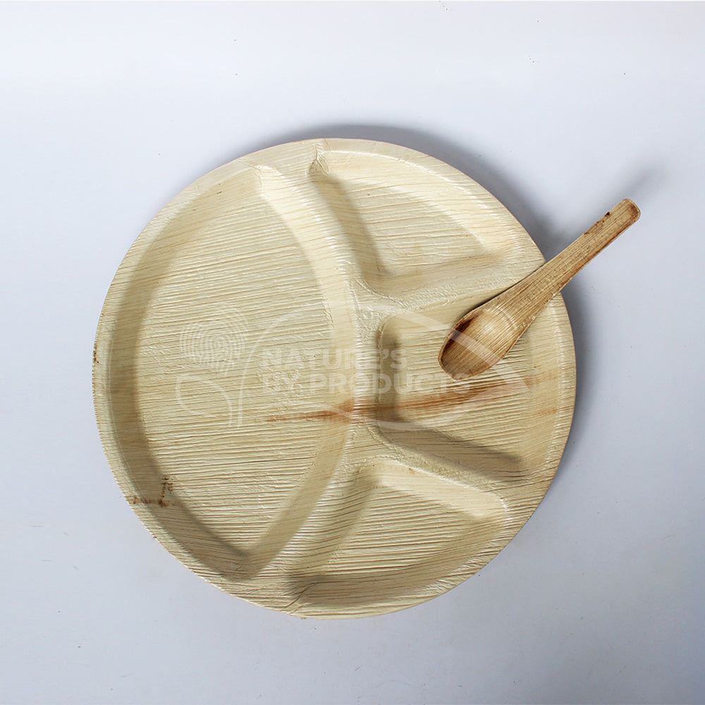 Dinner / Lunch Party Combo: Areca Leaf Circular Thali with 4 compartments and Spoon Combo : 24 sets