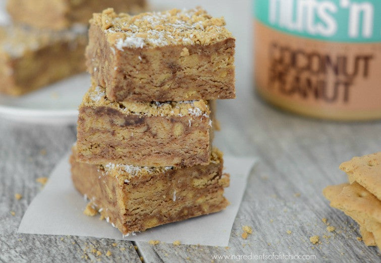 No Bake Coconut Peanut Butter S'mores Bars