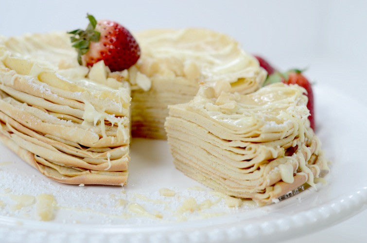White Chocolate, Strawberry Macadamia Crepe Cake