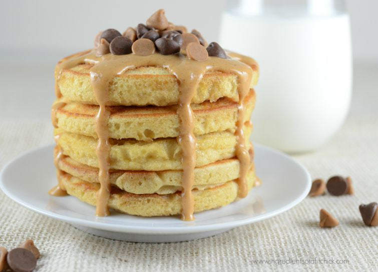 Toffee Peanut Butter Chocolate Chip Pancakes