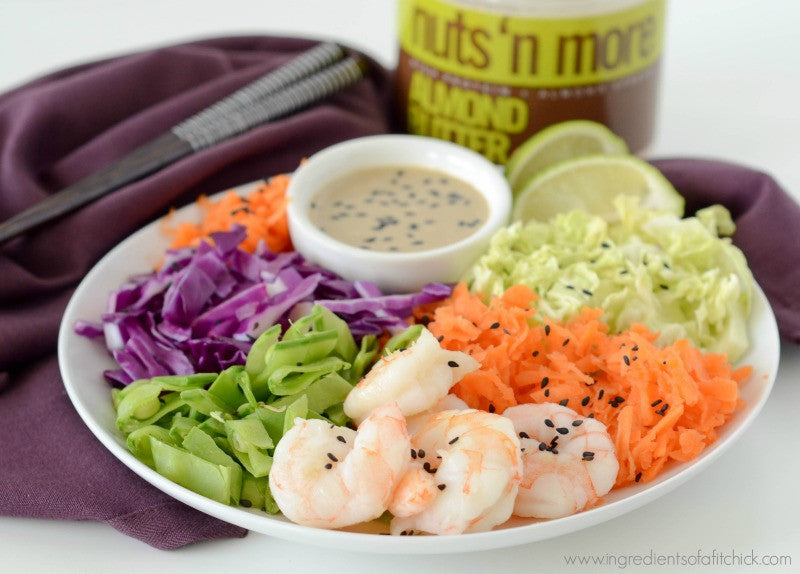 Rainbow Veggie Shrimp Salad with Nuts N More Almond Butter Dressing