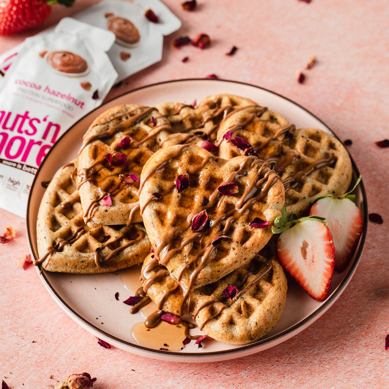 Heart Waffles with Cocoa Hazelnut Drizzle