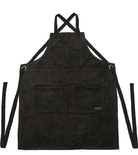Readywares Waxed Canvas Utility Apron, Cross-back Straps (Black)