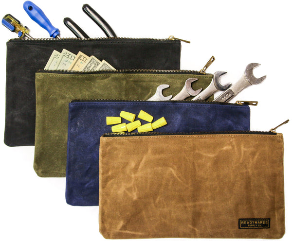 Readywares Waxed Canvas Zipper Tool Bags 4-Pack