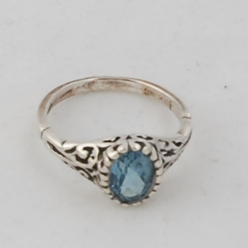 Sterling Silver Sweetheart Ring with Blue Topaz