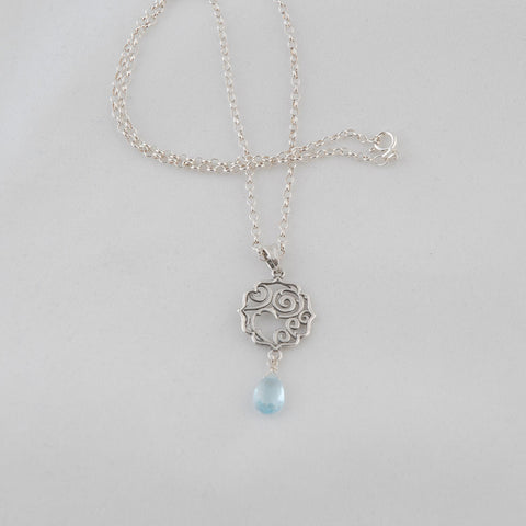 Sterling Silver Blue Topaz Stone Necklace
