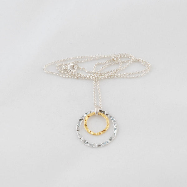 Circle of Love Necklace, Hammered Gold & Silver