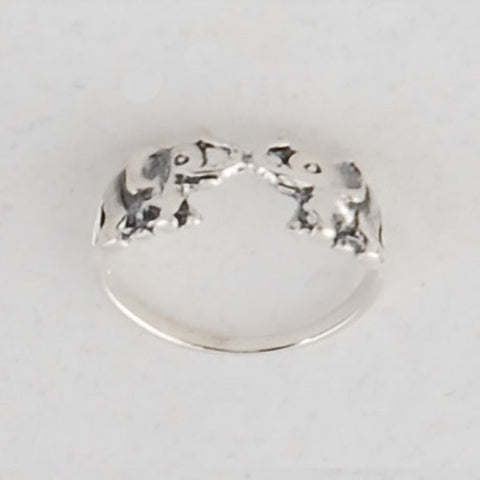 Pair of Elephants Ring - Sterling Silver