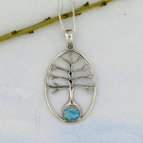 Tree of Life Pendant with Opal Sterling Silver