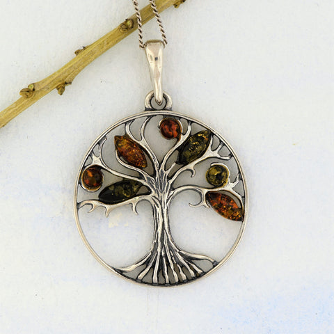 Tree of Life Pendant with Amber