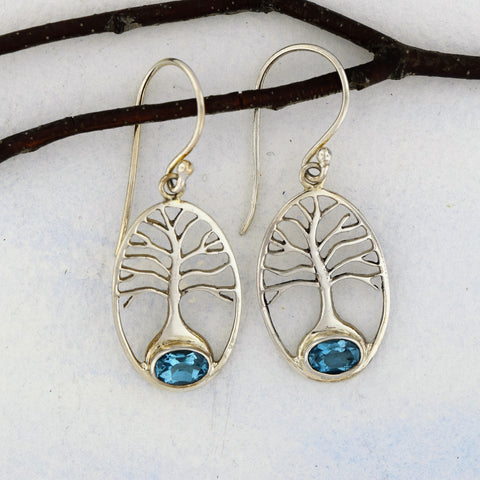 Tree of Life Earrings with Blue Topaz Sterling Silver