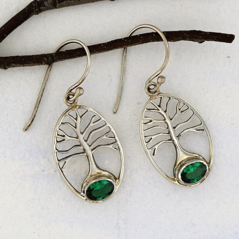 Tree of Life Earrings with Green Quartz Sterling Silver
