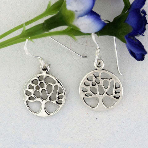 Simple Round Tree of Life Earrings Sterling Silver