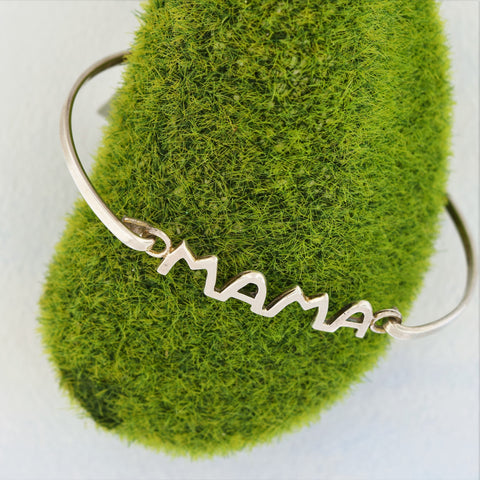 "Bangle Bracelet Carved ""Ma Ma"" Sterling Silver"
