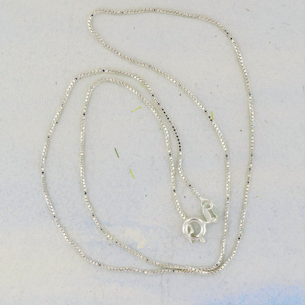 "Box Silver Chain 18"" Sterling Silver"